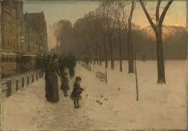 childe hassam s at dusk boston common at twilight