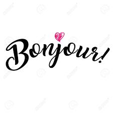 単語こんにちはフランス語ボンジュールおしゃれな書道白背景にピンクのハートのアイコンのベクトル図
