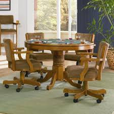 coaster mitc oak 5 piece 3 in 1 game table set alkar loading zoom kitchen chairs with wheels throughout top dinette table caster