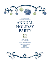 Invitation For Party Template Best Holiday Party Flyer With Ornaments And Blue Ribbon Formal Design
