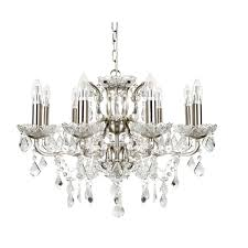 searchlight 8738 8ss 8 light satin silver chandelier with clear crystal drops
