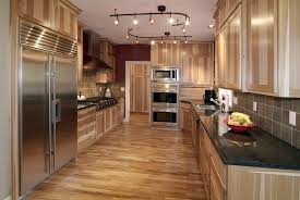 Of Kitchens With Wood Floors Lights Installations On White Plafond Over Unstained Hickory