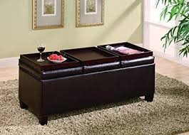 Image Footstool Coaster Home Furnishings Storage Ottoman With Reversible Trays Brown Amazoncom Amazoncom Coaster Home Furnishings Storage Ottoman With Reversible