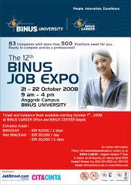 binus university binus career the right career partner the 12th binus job expo 21 22 oktober 2008