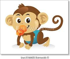 Cute Baby Monkey With A Pacifier In A Crawling Pose Art Print Poster