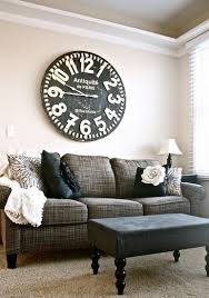 chic large wall decorations living room: large wall behind sofa display ideas oversized shabby chic clock via iloveyoufromheretoblogspotfi living room pinterest small rooms wall decor