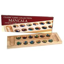 Game With Rocks And Wooden Board Mancala Game Deluxe Wood Board with Glass Beads Version John 2