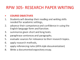 academic writing skills ppt rpw 305 research paper writing