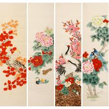 chinese magnolia and bird four panel screen painting
