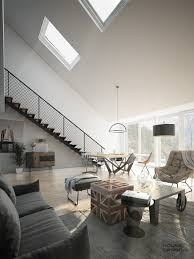 Mod Sloped Ceiling. Designs by Style: Upstairs Home - Attic Apartment Design