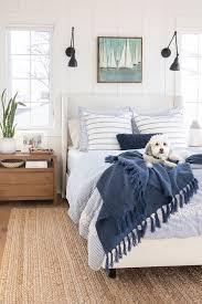 blue lake house master bedroom