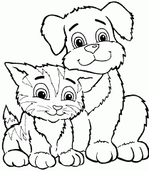 Small Picture Color Dogs And Cats Cute Cat And Dog Coloring Pages Printable Dogs