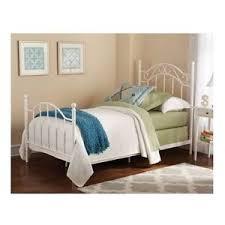 Twin Size Bed Frame For Girls Kids White Metal Scroll Headboard ...