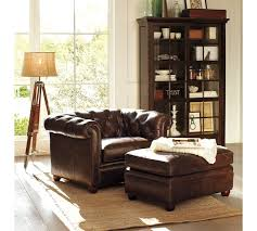 pottery barn chesterfield leather armchair
