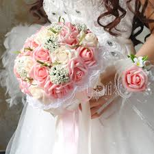 New Arrival Wedding Bouquet Handmade Flowers Ivory And Light Pink Rose With Pearls Bridal Bouquet Wedding Bouquets