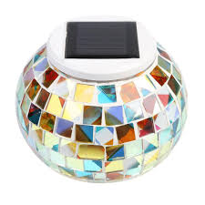 Solar Light Colour Changing Mosaic Crystal Glass Beside