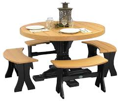 round dining tables bench seating