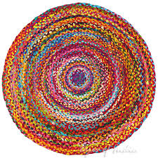 round colorful woven chindi braided area decorative boho bohemian rug 4 to 6 ft
