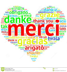 French Merci Heart Shaped Word Cloud Thanks On White Stock