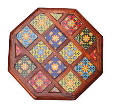 bulk whole handmade 18 round wooden round coffee side table decorated with bright colorful ceramic tiles