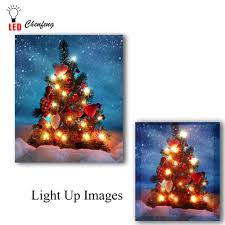 Canvas Christmas Prints With Led Lights Us 14 99 25 Off Led Canvas Art Printing Christmas Tree In Snow Wall Picture Illuminated Canvas Paintings Light Up Posters Print Holiday Gift In