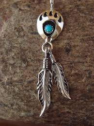 native american jewelry handmade sterling silver turquoise bear paw pendant