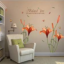wall sticker hatop red lily flower wall stickers removable decal home decor diy art decoration on wall art images home decor with amazon wall sticker hatop red lily flower wall stickers