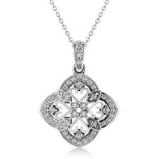 four leaf clover diamond pendant necklace 14k white gold 0 61ct ad8780