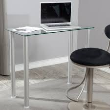 clear office desk. Glass Top Small Office Desk Placed In Simple Home With Round Swivel Chair On Grey Clear Z