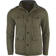firetrap men s designer cotton field jacket mens smart casual multi pocket coat