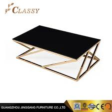 living room furniture black glass coffee table with gold metal