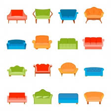 creative furniture icons set flat design. sofa couches modern furniture icons flat set isolated vector illustration creative design