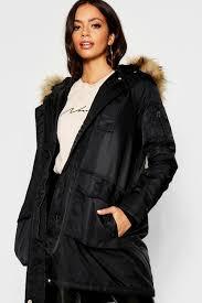 boohoo faux fur trim sporty parka black dzz22968 vrwklwn