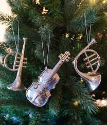 Christbaumschmuck Instrumente Silber 3 Stück Trompete Geige