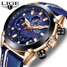 <b>LIGE Casual Fashion Mens</b> Watches Luxury WristWatch Quartz ...