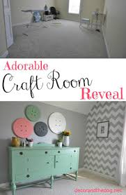 craft room office reveal bydawnnicolecom. Adorable Craft Room Reveal. Super Cute Details Like A Chevron Wall And Button Art Office Reveal Bydawnnicolecom