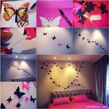 use erfly decorations made of paper to improve the look of your bedroom 16 awesome and easy diy wall decorating ideas