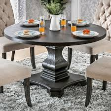 kitchen dining room tables furniture of america lucena antique black wood traditional farmhouse style pedestal base round dining
