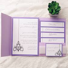 elegant chandelier pocket wedding invitations iwpi027