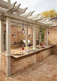 outdoor kitchen with walls