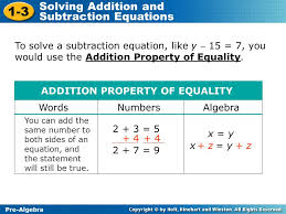 1 3 solving addition and subtraction equations pre algebra to solve a subtraction equation