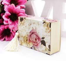 Floral Design Gift Boxes 50pcs Floral Printed Candy Boxes Drawer Shape Chocolate Box Gift Box For Baby Shower Birthday Wedding Event Party Decoration