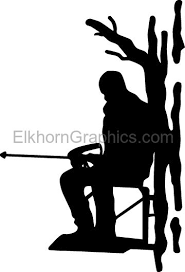 Man in Tree Stand Shooting Sticker 2 - Hunting Stickers   Elkhorn Graphics  LLC