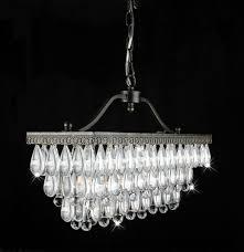 crystal glass drop 3 light antique copper chandelier