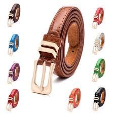 Candy Colors Pin Buckle woman's Thin <b>Belt Fashion PU Leather</b> ...