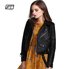 fitaylor women faux leather jackets lady pu er motorcycle outerwear slim short punk coat with belt