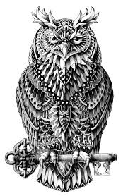 Great Horned Owl Animal Art Print Black And White Ornately Decorated
