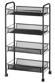get ations halter 4 tier rolling basket stand full metal rolling trolley for kitchen bathroom