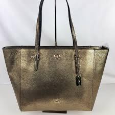 Coach Turnlock Tote - Metallic Gold Pebble Leather