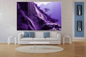 piece landscape mountain waterfall large canvas living room wall vvvart amazing purple canvas wall